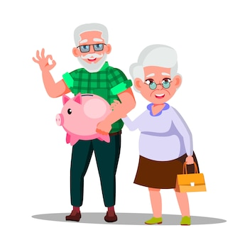 年金貯蓄とキャラクターの男女