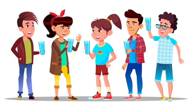 Жаждущие персонажи дети пьют воду
