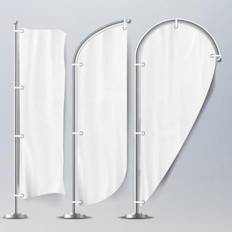 Реалистичные шаблон пустые белые флаги