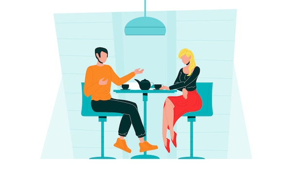 カフェでデートロマンチックなカップルは伝達します