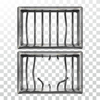 刑務所の窓と壊れた金属棒セット