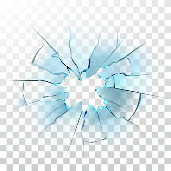 砕けたガラス窓の壊れた弾痕