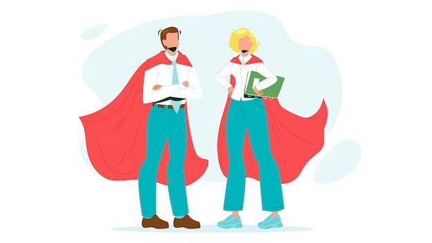 勇敢なスーパーヒーローの勇気の男と女