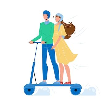 男と女の電気スクーターに乗って