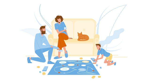 家族の部屋の床でボードゲームをプレイ