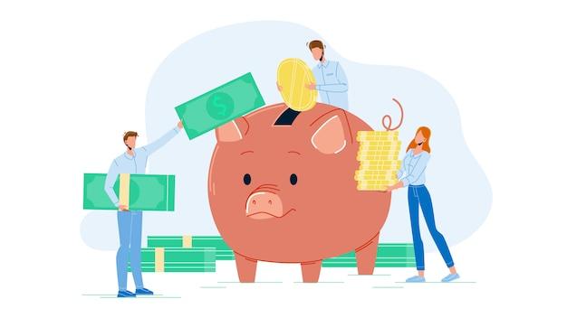 ビジネスマンは貯金箱にお金を追加します