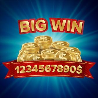 大当たりのベクトル。運、お金、ジャックポット、宝くじを再生するためのカジノの背景