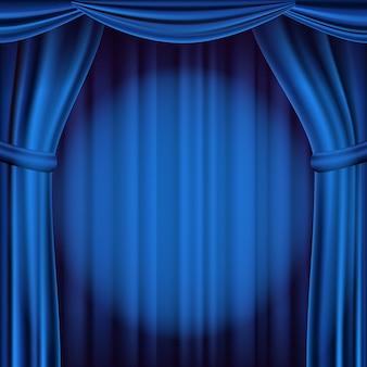 Синий театральный занавес на фоне. театр, опера или кино сцена фон. реалистичная иллюстрация
