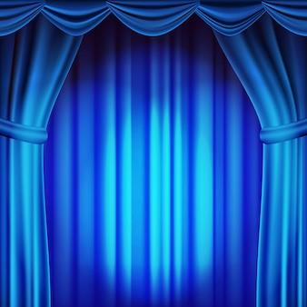 ブルーシアターカーテンの背景。劇場、オペラまたは映画のシーンの背景。空のシルクステージ、青いシーン。リアルなイラスト