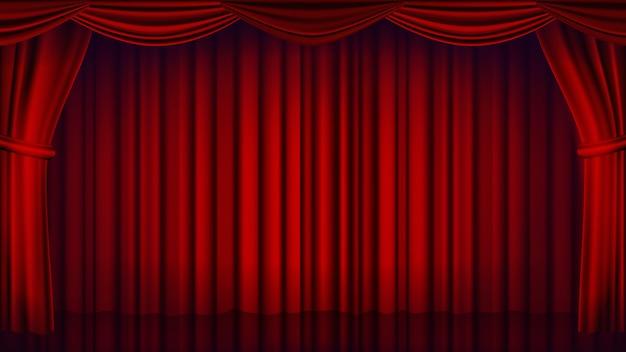 レッドシアターカーテンの背景。劇場、オペラまたは映画館クローズドシーンの背景。リアルな赤いドレープの図