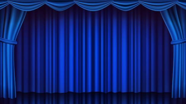 ブルーシアターカーテンの背景。劇場、オペラまたは映画館クローズドシーンの背景。リアルな青いドレープのイラスト