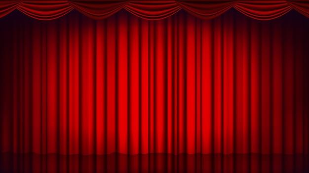レッドシアターカーテンの背景。劇場、オペラまたは映画の空のシルクステージの背景、赤のシーン。リアルなイラスト