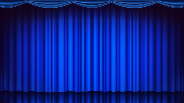 Синий театральный занавес на фоне. театр, опера или кино пустая шелковая сцена фон, голубая сцена. реалистичная иллюстрация