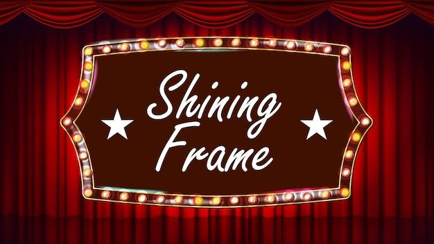 劇場の幕、フレームの電球ベクトル。青い背景ブルーシルクテキスタイル。輝くレトロな光のバナー。ゴールドフレームリアルなヴィンテージのイラスト