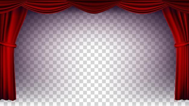 赤の劇場の幕のベクトル。コンサート、劇場、オペラまたは映画の空のシルクステージ、赤いシーンのための透明な背景。リアルなイラスト