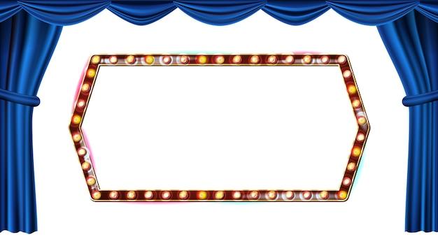ゴールドフレーム電球ベクトル。白い背景に分離されました。ブルーシアターカーテン。シルクテキスタイル輝くレトロライト看板。リアルなレトロなイラスト