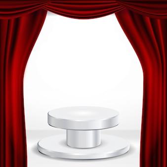 赤い劇場の幕のベクトルの下で表彰台。授賞式プレゼンテーション。勝者のための台座。孤立した図
