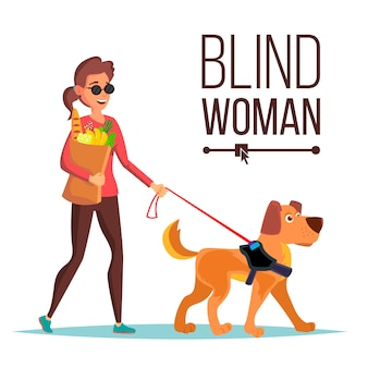 盲目の女性のベクトル。ペットの犬同伴者。サングラスと盲導犬で盲目の女性が歩きます。孤立した漫画のキャラクターのイラスト