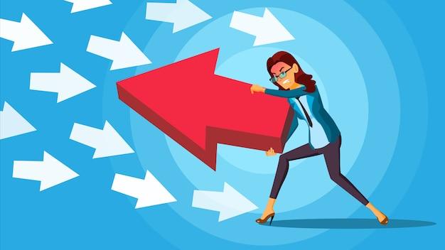 ビジネスの女性が矢印を押す