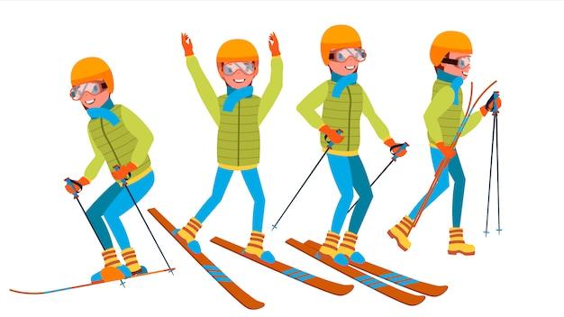 Лыжный мужской набор символов