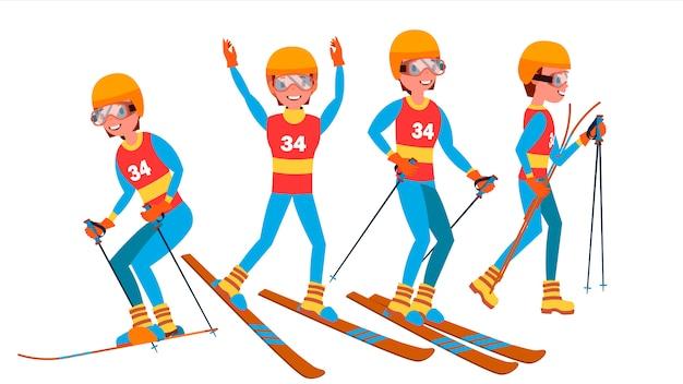 Набор символов мужского игрока на лыжах