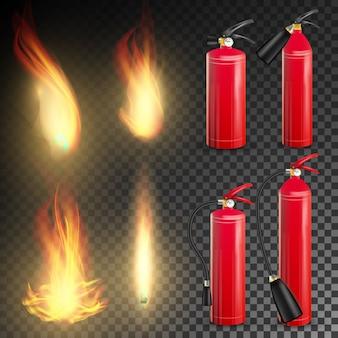 赤い消火器ベクトル。火の炎のサイン。透明な背景イラストの分離