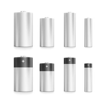Набор пустых электрических батарей, разных размеров