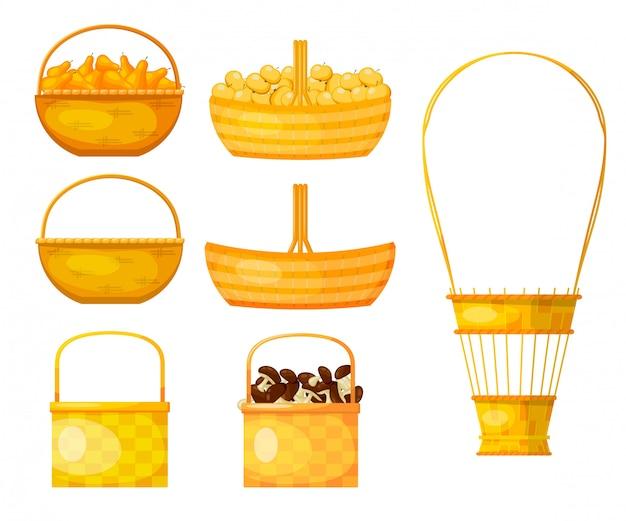柳の小枝の黄色のバスケットのセット。