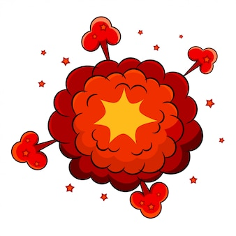 Цветной мультфильм взрыв. мультяшный взрыв на белом