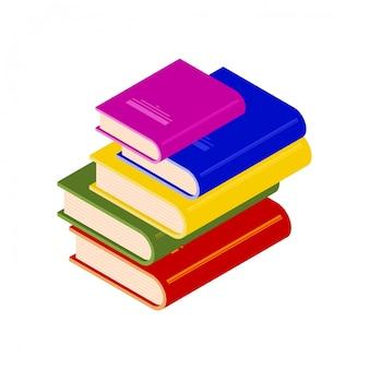 アイソメ図スタイルの色とりどりの本の山