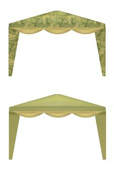白い背景の上の軍事テント。ベクトルイラスト