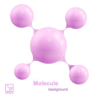ピンクの分子が白い背景で隔離。ベクトルイラスト