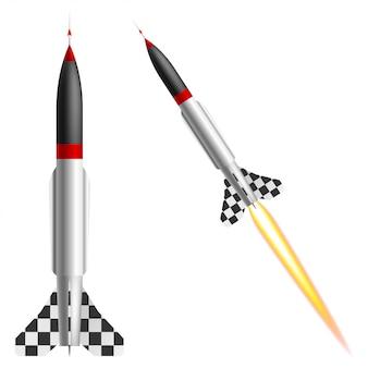 白い背景の上のロケット