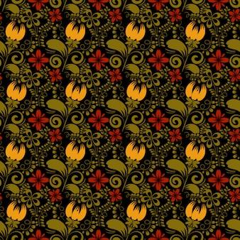 Бесшовные цветочные текстуры на черном фоне. хохлома. векторная иллюстрация