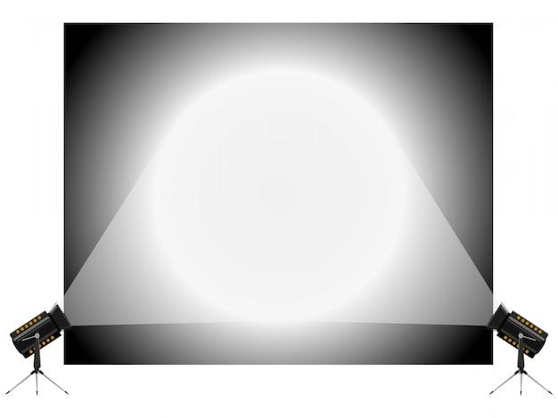 Векторная иллюстрация стенда и прожекторов