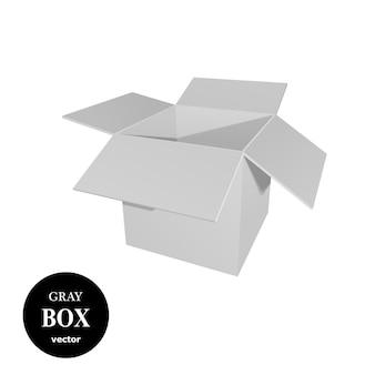 白い背景に分離された灰色の段ボール箱。
