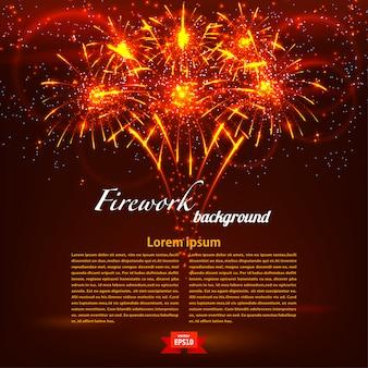 赤の背景テンプレートに明るいカラフルな花火。ホリデーカードベクトルイラスト