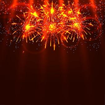 明るくカラフルな花火と赤い背景の上の光線。ホリデーカードベクトルイラスト