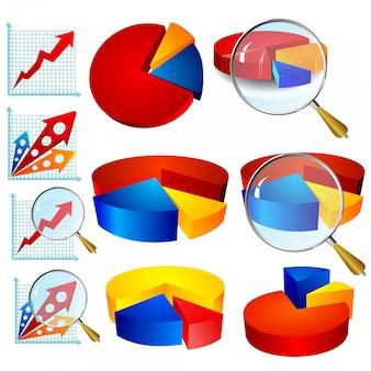 Векторная коллекция красочных диаграмм для бизнеса