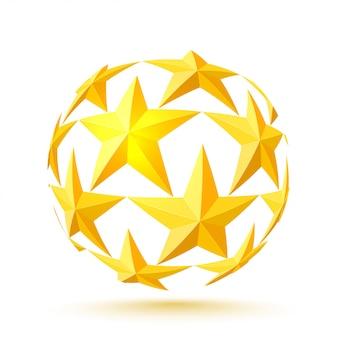 金の星は円形です。ベクトルイラスト