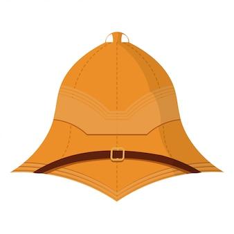 Иллюстрация мультяшный пробковый шлем на белом фоне