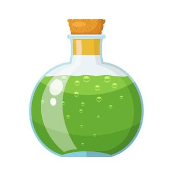 緑色の液体でコルク栓が付いているガラス瓶。バイアルに入った薬。漫画のスタイル株式ベクトル図