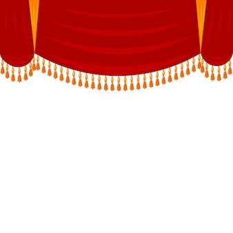 Горизонтальный красный занавес с золотой бахромой. театральные декорации, арлекин. откройте занавес перед спектаклем в театре