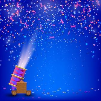 Фестиваль синий фон. праздничный фон со стрельбой из пушек и яркими конфетти. векторная иллюстрация