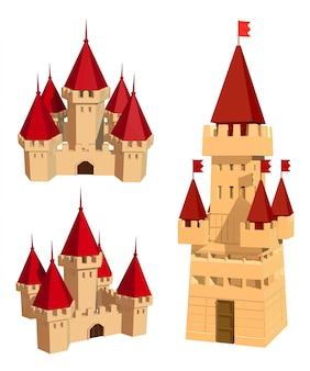 城と白の旗の色セット。