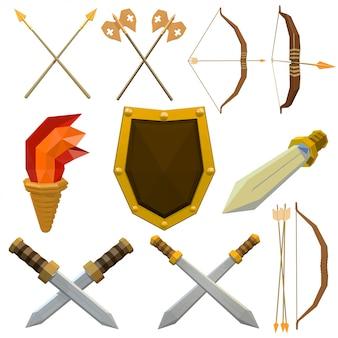 白で隔離される中世の武器のカラフルなセット