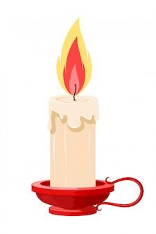 Иллюстрация горящей свечи в держателе. мультфильм свеча с пламенем в красный держатель. изолированный объект старинная свеча
