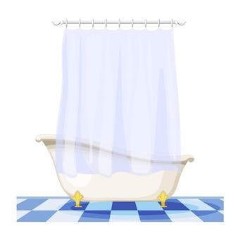 タイル張りの床にカーテンとビンテージバスタブのイラスト。家具付きバスルーム。カーテン付きトイレ、衛生施設