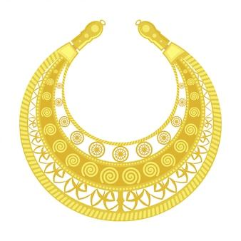 金胸筋。老婦人のジュエリー。スキタイ人の女性コスチュームの黄金の詳細。ビンテージオブジェクト