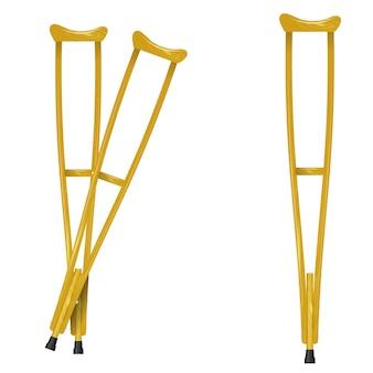 白い背景の上の木製の松葉杖